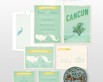 Destination wedding invitation Cancun Mexico Beach Destination bilingual Wedding Invitation RSVP Info Card  DEPOSIT Payment