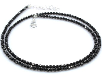 """Natural Black Spinel Necklace Sterling Silver 3 mm 24"""" 18"""" 16"""" Beads Women Gemstone Fashion Jewelry Birthday Gift Anniversary Handmade"""
