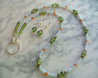 Beautiful Green and Blue Necklace and Earring Set, Eyeglass Holder and Earring Set, Dlabeaddesign, Beaded Necklace, Green Earrings