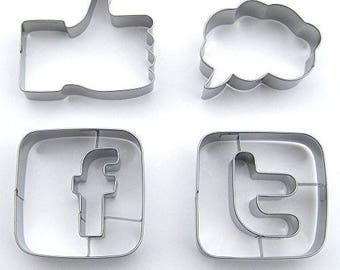 Social Media Cookie Cutter Set, Stainless Steel, 4 Piece Set - USA FREE Shipping