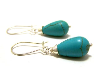 Modern Wire Wrapped Teardrop Howlite Turquoise Beaded Earrings / Gift for Her