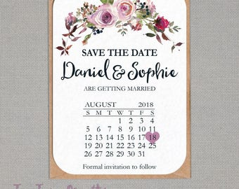 10 x Personalised Save the Date Calendar Cards with optional magnet FLSD21