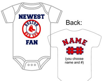 Boston red sox baby etsy newest boston red sox fan custom made and personalized baseball gerber onesie jersey you choose name negle Images