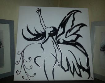 fairy painting black and white with touches of silver