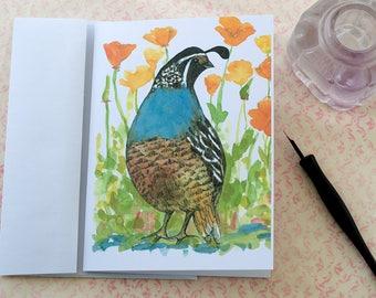 Quail Roadrunner Ptarmigan Hawaiian Goose Watercolor State Bird Blank Card Set Of Four