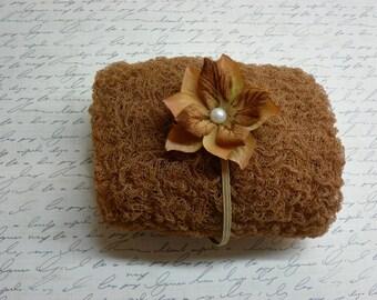 Cinnamon Cheesecloth Wrap and Headband Set...Photography Prop...Cheesecloth Prop...Newborn Wrap...Baby Girl Headband