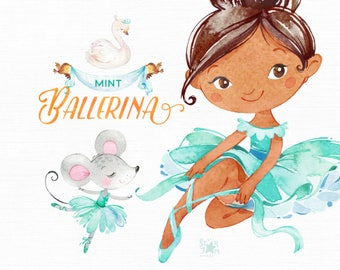 Mint Ballerina. Watercolor clipart, little girl, dress, ballet dancer, pointe, banner, birds, wreath, bows, mouse, turquoise, flowers, cute