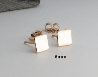 Square Gold Studs Minimalist Earrings, Flat Earrings, Square Earrings Dainty Earrings, Stud Earrings, Gold Earrings, Handmade Earrings, 6mm