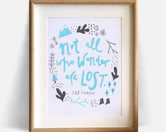 JRR Tolkien illustration, art print, Lord of the Rings, travel, wanderlust, nursery, Hobbit - Instant download wall decor