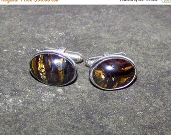 ON SALE Classy VINTAGE Sterling  Cufflinks Set With  Tiger Iron  Cabochons A Supreme Healing Stone