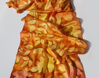 """Hand painted silk scarf - """"Warm Autumn"""" - leaves scarf- autumn silk scarf- season scarf"""