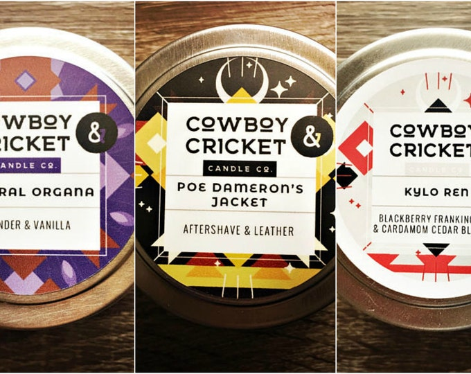 Featured listing image: Star Wars Inspired Set of 3 - Poe Dameron's Jacket, Kylo Ren, & General Organa  - Set of 3 Handmade Scented Soy Candles