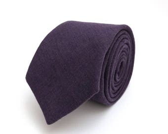 Dark purple linen necktie, wedding neck, linen necktie,  groomsmen necktie, wedding tie, dark purple neck,purple  bow tie for men