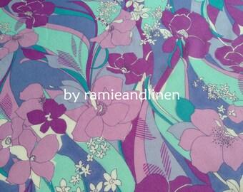 """silk fabric, silk georgette floral print fabric, dress fabric, scarf fabric, half yard by 45"""" wide"""