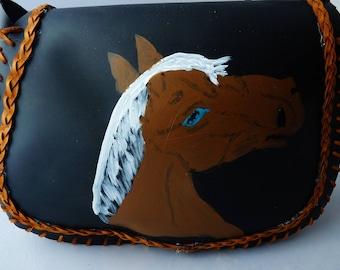 Cheval peint sur cuir, laçage, amérindien, regalia, pow-wow, pau wau, soho, boho, tambour, cercle, sac à main tambour moyen, étui souple
