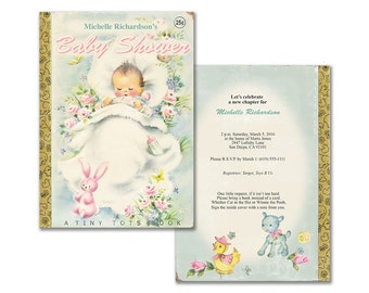 Book themed baby shower invitation / printable baby shower invite / storybook theme / editable PDF / vintage baby shower / gender neutral