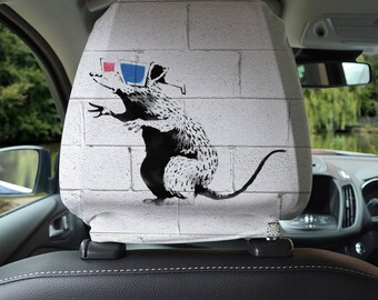 Banksy Design Car Seat Headrest Cover 2 Pack Made In Yorkshire