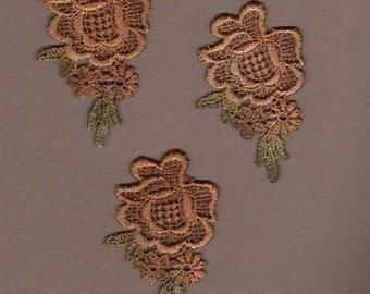 Hand Dyed Venise Lace Appliques Vintage Fall Bliss Florals Set of 3