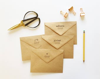 Custom Return Address Kraft Envelopes - Custom Envelopes - Sized for A7 5x7 Cards - Custom Name Envelopes - Custom Stationery