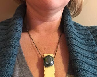 Butter & graphite wood block necklace