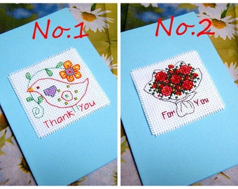 Cross Stitch Greeting Card/Thank You Card/For You Card with Envolope
