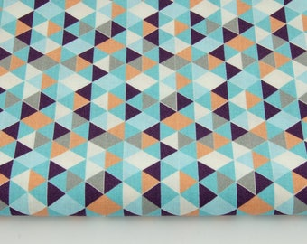 Fabric 100% cotton a half metre 50 x 160 cm, 100% cotton mini triangles in salmon and blue