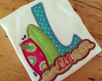 Girl's Surfs Up Appliqued Initial Tee Girl's Surf Board Applique Shirt