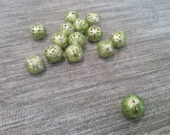 set of 5 large filigree, to lime beads, 12mm