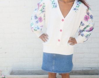 Sweater 1980s Vintage White Floral Top