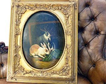 Fantastic Victorian Oil On Domed Board Of Three Dutch Rabbits Eating Carrots And Cabbage