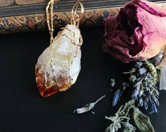 LARGE CITRINE NECKLACE | orange | gold wire | fantasy