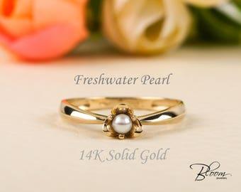 Yellow Gold Pearl Ring 14K Gold Ring Freshwater Pearl Ring White Pearl Ring Yellow Gold Ring Unique Pearl Ring BloomDiamonds