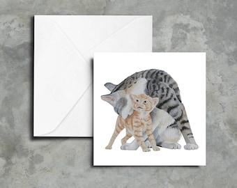 Blank Greeting Cards - Set of 5 - Mother Cat & Kitten Art Print