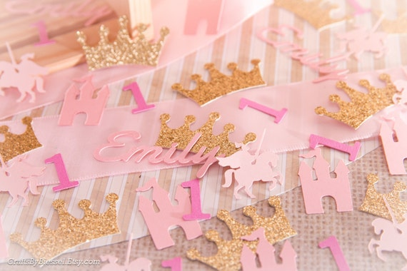 Personalized Royal Princess Party Confetti, Gold and Pink Table ...