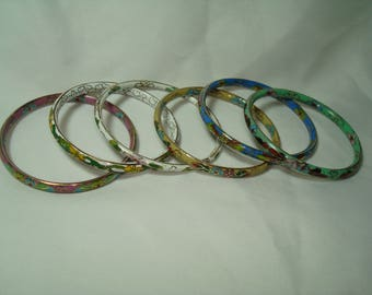 Six Pack of Vintage Cloisonné Purple Blue Jade Green White and Yellow Bangle Bracelets.