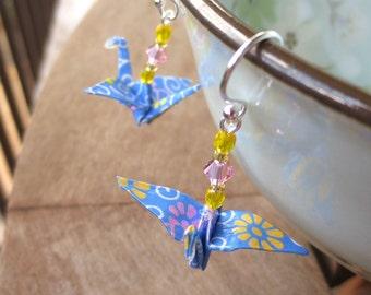 Blue Origami Crane Earring, Origami Jewelry, Crane Jewelry, Paper Crane Earring, Cute Crane Earring, Cute Blue Earring, Cute Paper Earring