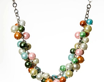 Multi Color Necklace, Chunky Necklace, Statement Necklace