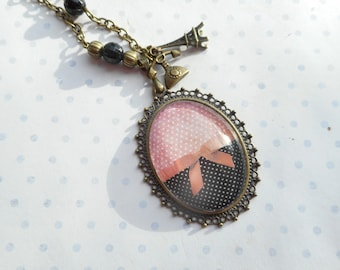 "Vintage ""little retro"" glass cabochon necklace red, black, polka dots, bronze charms, optional gift box"