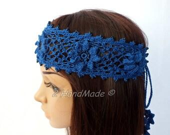 OOAK Irish Lace Crochet Headband Dreadlock Head Wrap Blue Boho Wooden Beaded Women Wedding Bridal Cotton Hair Snood