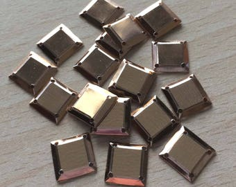 glitter color square cabochon nacrolaque iridescent gold
