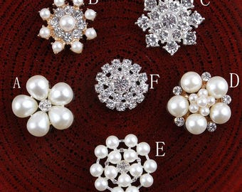 Clear Alloy Crystal Flatback Buttons for Baby Girls Hair Accessories/Ornaments Bling Metal Rhinestone Buttons