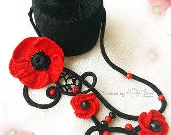 Crochet necklace, Poppy jewelry, Statement choker, Crochet floral necklace, Beaded crochet, Red and Black necklace, Crochet poppies