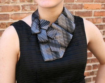 Unique Scarf - Ascot Tie - Necktie Scarf - Office Wear - Gift For Wife - Black and Grey Lauren Scarf. 30