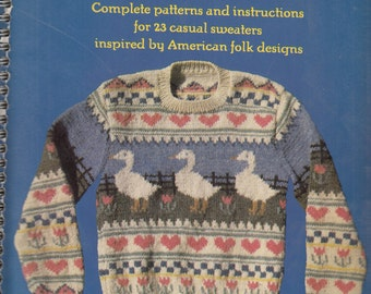Countryknits by Carol Huber Complete Patterns and Instructions for 23 Casual Sweaters Craft Pattern Book Vintage 1987