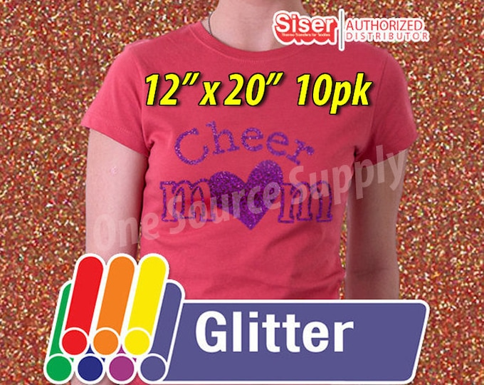 """12"""" x 20"""" / 10-sheets  / Easyweed Glitter HTV / Combine for Shipping Discount / Heat Transfer Vinyl - HTV"""