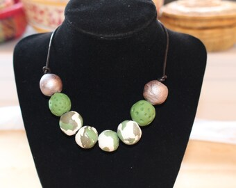 Silver green necklace, Eco Friendly handmade clay beads