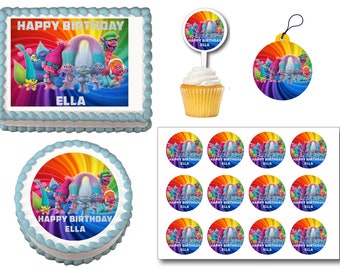 Trolls Edible Birthday Cake Toppers, Plastic cupcake Picks, Gift Tags or Stickers