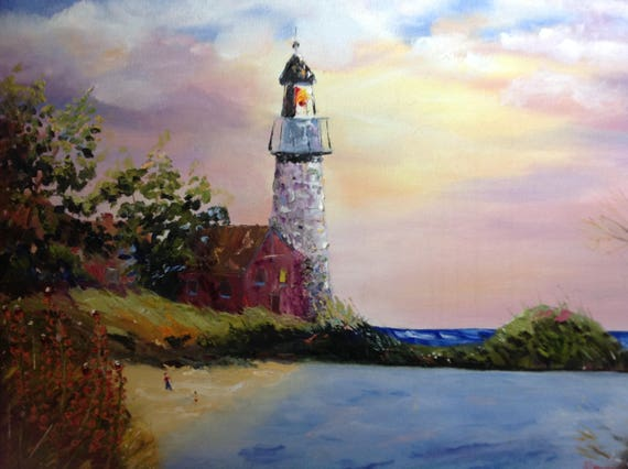 Lighthouse, Large Landscape, Oil Painting, Lighthouse, Seascape, Blue Water, Sunset, Purple, gifts for her