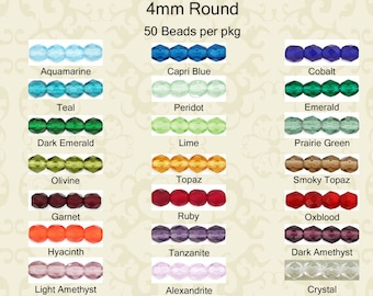 Faceted Round 4mm Fire Polished Beads 50 beads per pkg in 22 colors, tanzanite, teal, crystal, ruby, garnet, emerald, lime, peridot & more