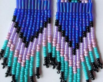 Southwest style hand-beaded earrings COBALT IRIS matte